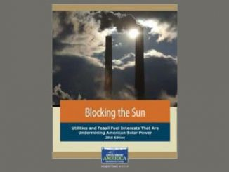 """Cover of """"Blocking the Sun"""" report released by: Environment America Research and Policy Center, December 1, 2016."""