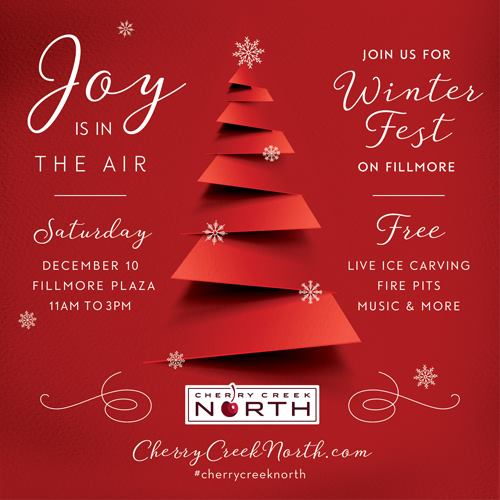 Cherry Creek North Winter Fest is December 10, 2016, Denver CO.