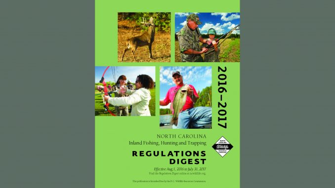 Cover of NC Wildlife regulations booklet. Source: NCWildlife.org.