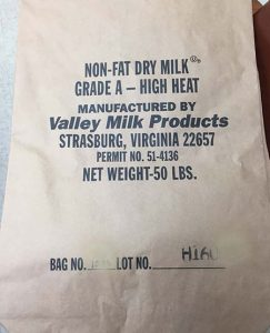 Milk bag image released with recall.