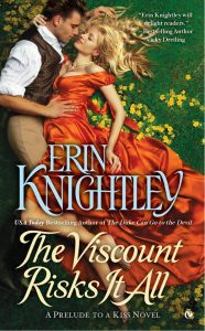 "Book cover for ""The Viscount Risks It All"" by Erin Knightley."