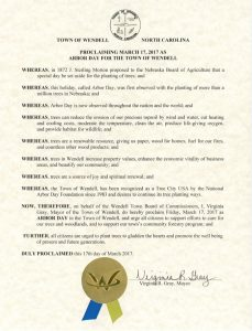 2017 Arbor Day Proclamation. Source: Phillip A. Smith II, Wendell NC Parks and Recreation Dept.