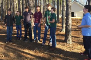East Wake Academy students after stick pick-up race at Kindred Spirits Farm, Zebulon NC. Photo: Kay Whatley