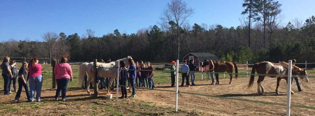East Wake Academy students and Kindred Spirits Farm horses. Photo: Kay Whatley