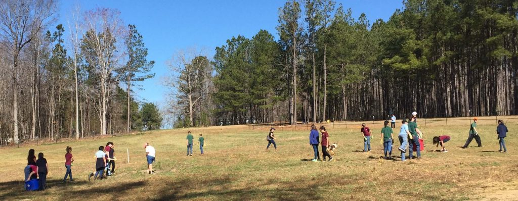 EWA students in a rock gathering race, helping Kindred Spirits Farm by clearing pasture. Photo: Kay Whatley