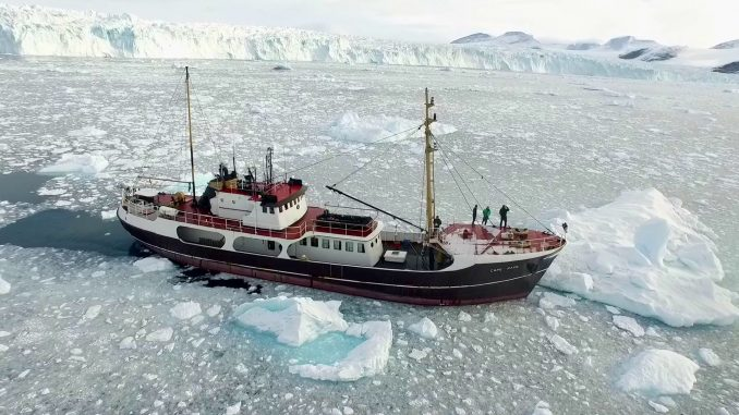 The research ship M/V Cape Race on Greenland's northwest coast during OMG's survey of the seafloor. Source: NASA/JPL-Caltech.
