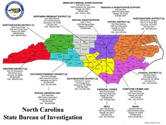 SBI contacts. Source: NC NC State Bureau of Investigation, Raleigh NC.