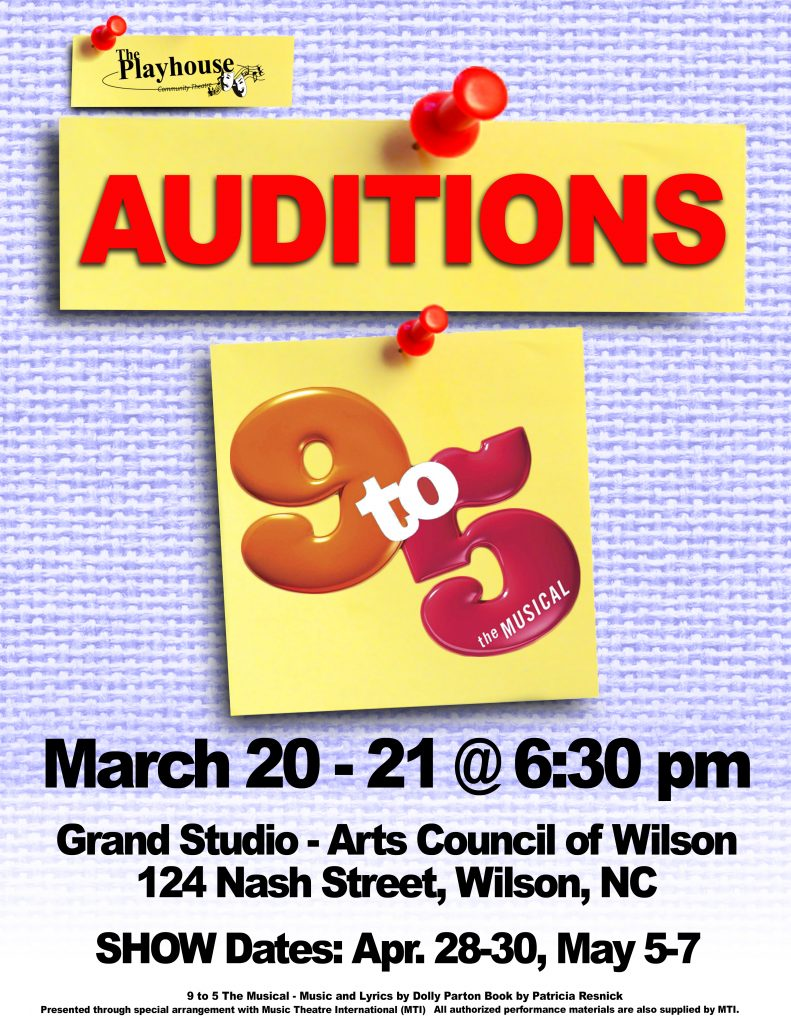 9 to 5 The Musical auditions poster. Source: Kathy and Steve Witchey.