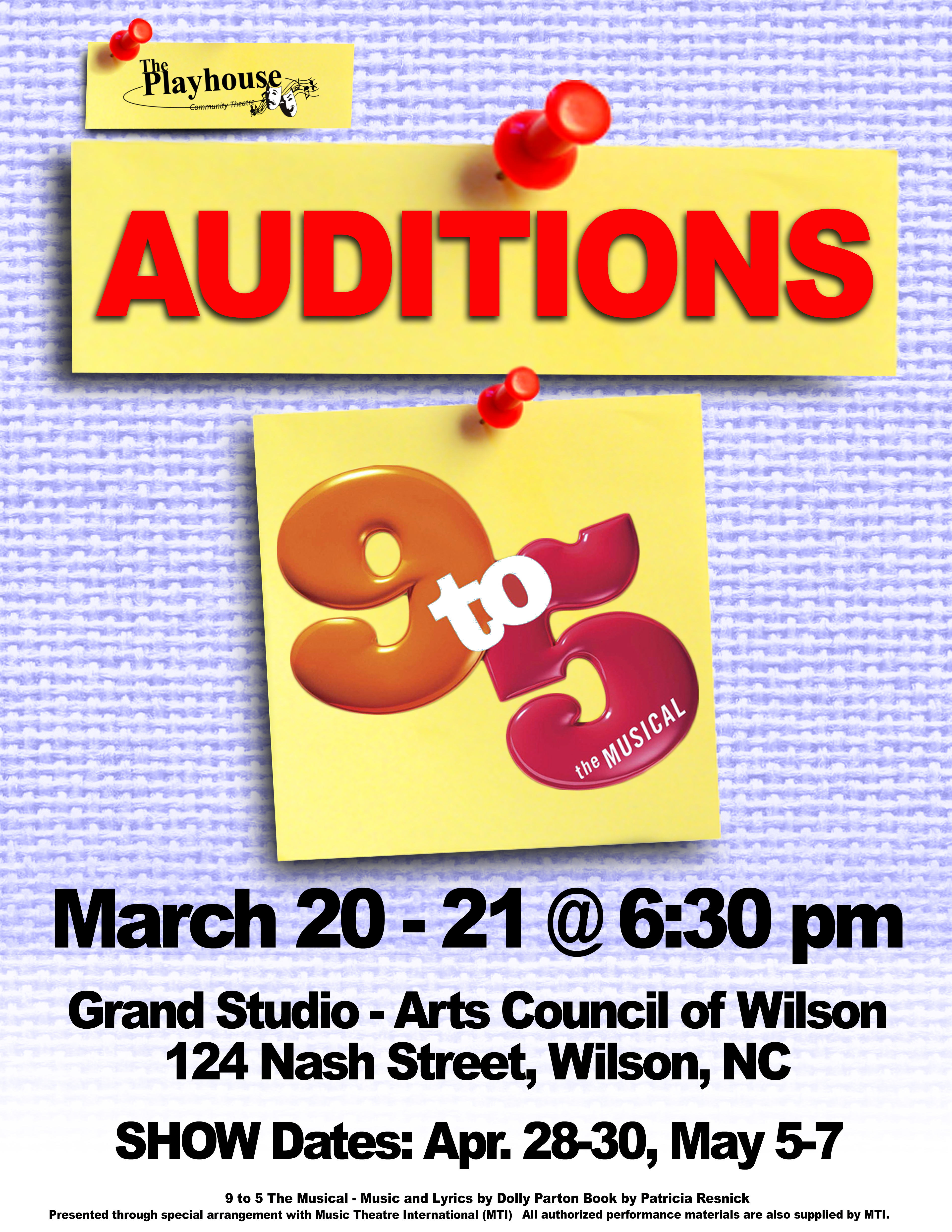 9 To 5 The Musical Auditions Poster Source Kathy And Steve Witchey