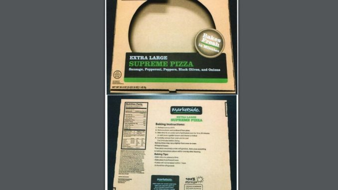 Marketside pizza label released with USDA FSIS recall.