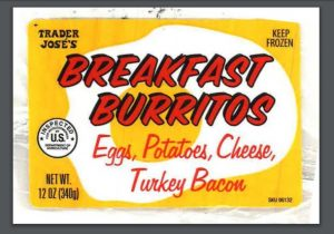 Trader Joses Breakfast Burritos label released with USDA FSIS recall.