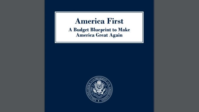 "Budget screenshot showing the ""America First"" and MAGA slogans adopted by this administration."
