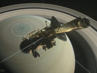 This illustration shows Cassini above Saturn's northern hemisphere prior to one of its 22 Grand Finale dives. Credit: NASA/JPL-Caltech.