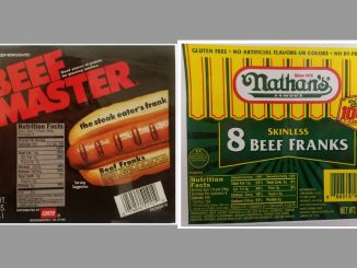 Hot dog packaging released by USDA with recall May 2017.