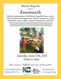 Historic Stagville, Durham NC, 2017 Juneteenth event flyer.