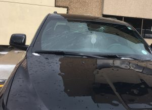 Shattered windshield from Denver, Colorado hail storm May 8, 2017. Source: N. Banks.