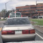 Vehicle window pelted by hail in Denver, Colorado storm May 8, 2017. Source: N. Banks.