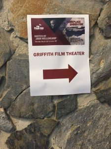 Wayfinder sign for May 18, 2017 screening in the Griffith Film Theatre, Duke University, Durham NC. Photo: Kay Whatley.