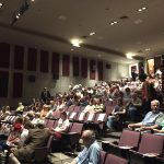 "Audience taking their seats for ""Homeplace Under Fire"" screening, Griffith Film Theatre, Duke University, Durham NC. Photo: Kay Whatley."