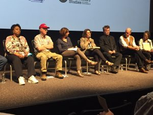 Panel members Shirley Sherrod, Benny Bunting, Jennifer Fahy, Carolyn Mugar, John Mellencamp, Charles Thompson, and Savi Horne at the May 18, 2017 screening in Durham NC. Photo: Kay Whatley.
