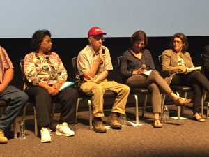 Panel members Shirley Sherrod, Benny Bunting, Jennifer Fahy, and Carolyn Mugar at the May 18, 2017 screening in Durham NC. Photo: Kay Whatley.