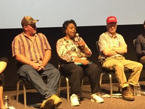 "Panel members Curtis Byrum, Shirley Sherrod, and Benny Bunting at the May 18, 2017 screening of ""Homeplace Under Fire"" at Duke University, Durham NC. Photo: Kay Whatley."