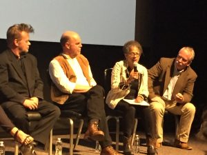 "Panel members John Mellencamp, Charles Thompson, Savi Horne, and Scott Marlow at the May 18, 2017 screening of ""Homeplace Under Fire"" at Duke University, Durham NC."