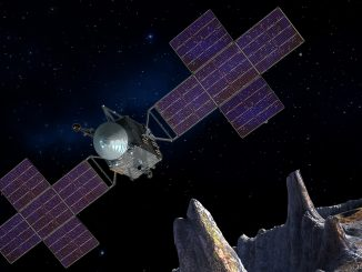 Artist's concept of the Psyche spacecraft, which will conduct a direct exploration of an asteroid thought to be a stripped planetary core. Image credit: SSL/ASU/P. Rubin/NASA/JPL-Caltech.