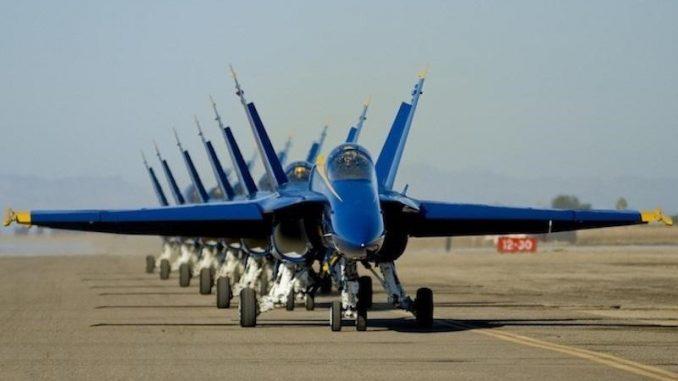 US Navy's Blue Angels. Source: Seymour Johnson Air Force Base PR.