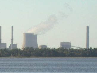 The power plant complex of Crystal River, on the right of the cooling towers is the nuclear reactor (Unit 3) Source: nadbasher; cropped by User:Theanphibian, Wikicommons.