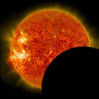 This image of the moon crossing in front of the sun was captured on Jan. 30, 2014, by NASA's Solar Dynamics Observatory observing an eclipse from its vantage point in space. Credits: NASA