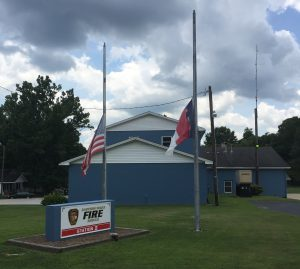 Eastern Wake Fire, Knightdale NC, flags flying at half staff on July 12, 2017.