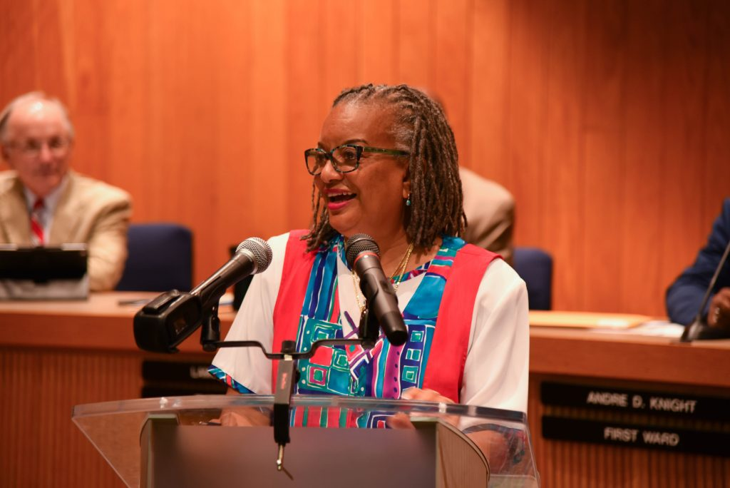 Senator Angela Bryant speaking at the swearing-in ceremony for Small-Toney. Source: City of Rocky Mount NC.