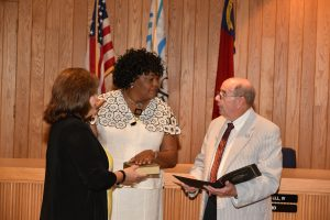 Swearing-in ceremony on July 3, 2017. Pictured (l-r) City Clerk Pam Casey, City Manager Rochelle D. Small-Toney, and Mayor Pro Tem W.B. Bullock.