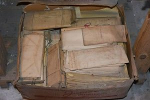 A box of letters dating back to the 1800s and tied with string. Photo source: Diane Taylor Torrent, Heritage Society of Franklin County NC.