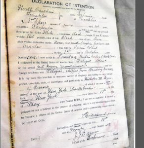 Early 1900s Declaration of Intent filed with the county by a Russian immigrant. Photo source: Heritage Society of Franklin County, NC.