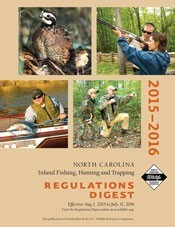 Contains information on license requirements, inland fishing regulations, hunting regulations, trapping regulations, Game Lands regulations and restrictions, local laws, Big Game Harvest Reports, and Permit Hunt Opportunities. Source: NCwildlife.org