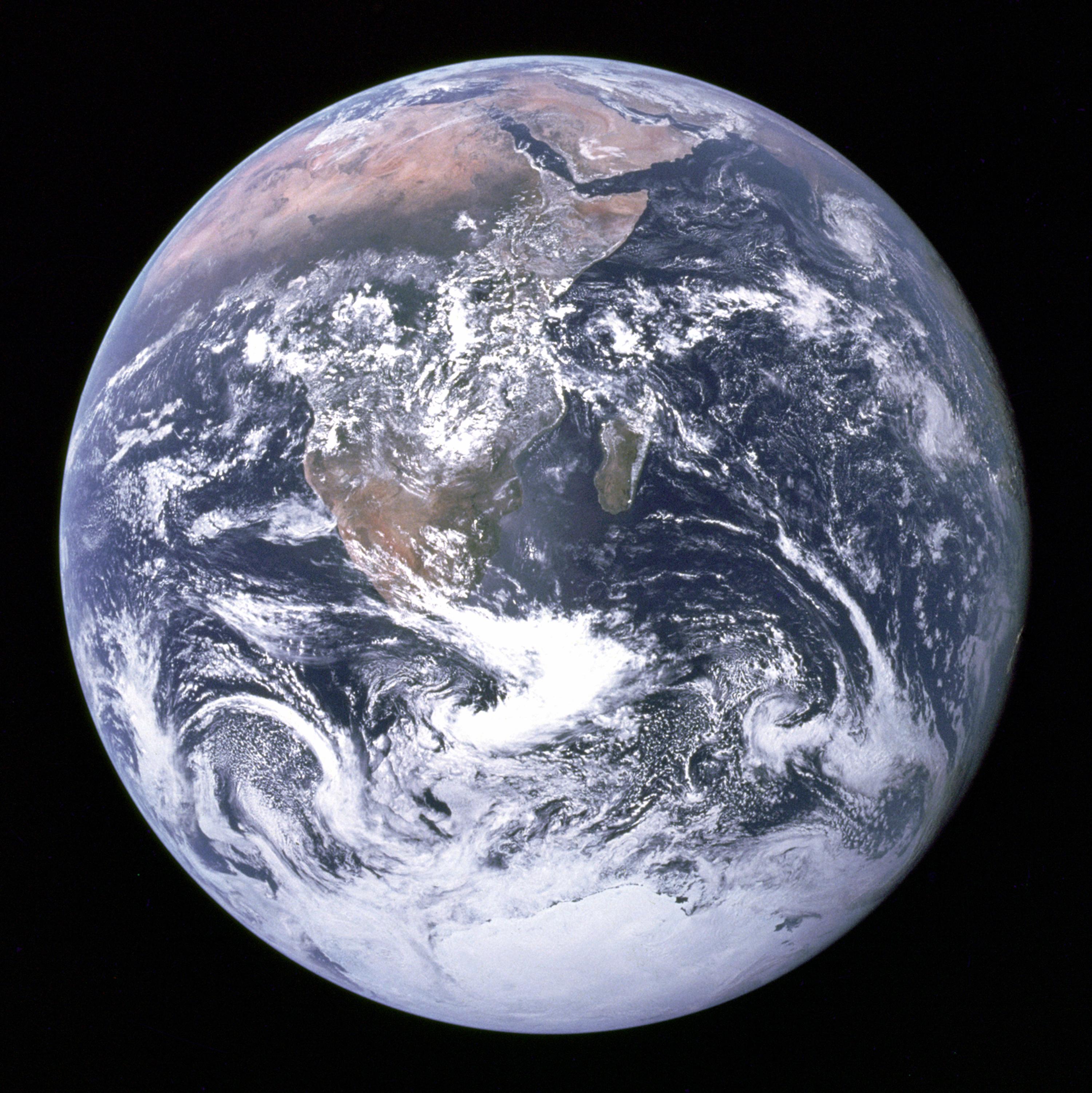Earth in Full View. The Apollo 17 crew caught this breathtaking view of our home planet as they were traveling to the moon on Dec. 7, 1972. It's the first time astronauts were able to photograph the South polar ice cap. Nearly the entire coastline of Africa is clearly visible, along with the Arabian Peninsula. Source: NASA.