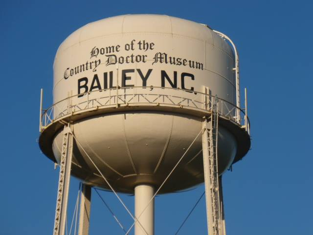 Bailey NC Water Tower. Photo Source: Bailey Chamber of Commerce Facebook photo.