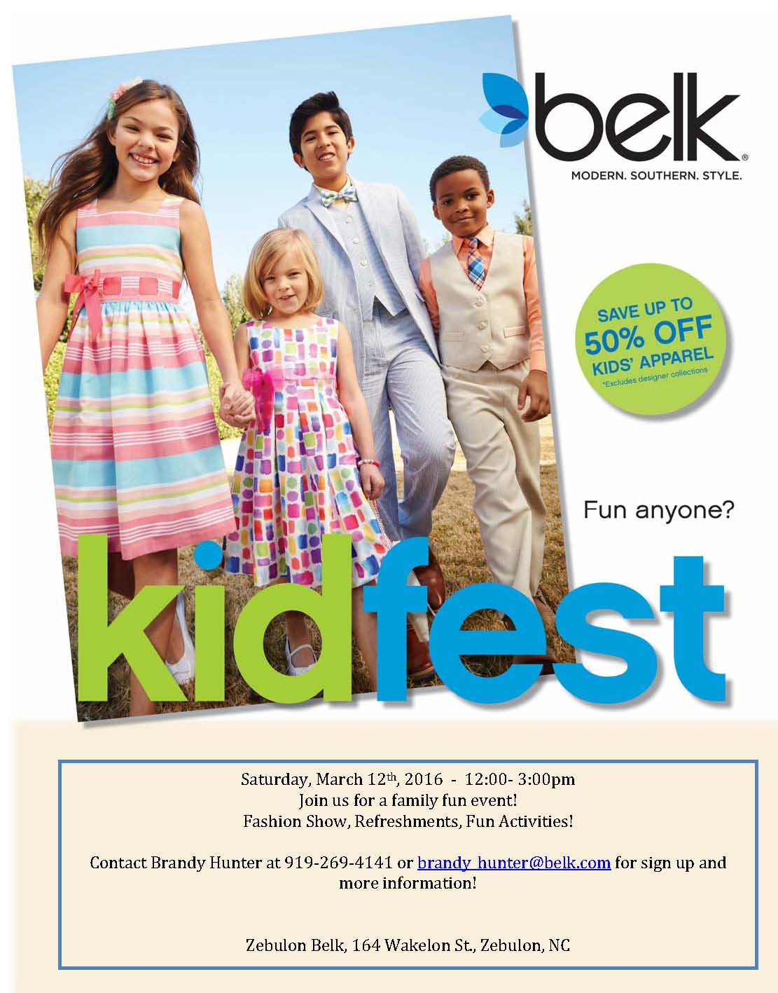 2016 KidFest Flyer. Source: Brandy Hunter, Belk, Zebulon NC.