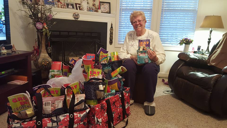 Pat Kendrick with Love Bags packed for Zebulon House. Photo Source: Susan Aceti, Zebulon NC.