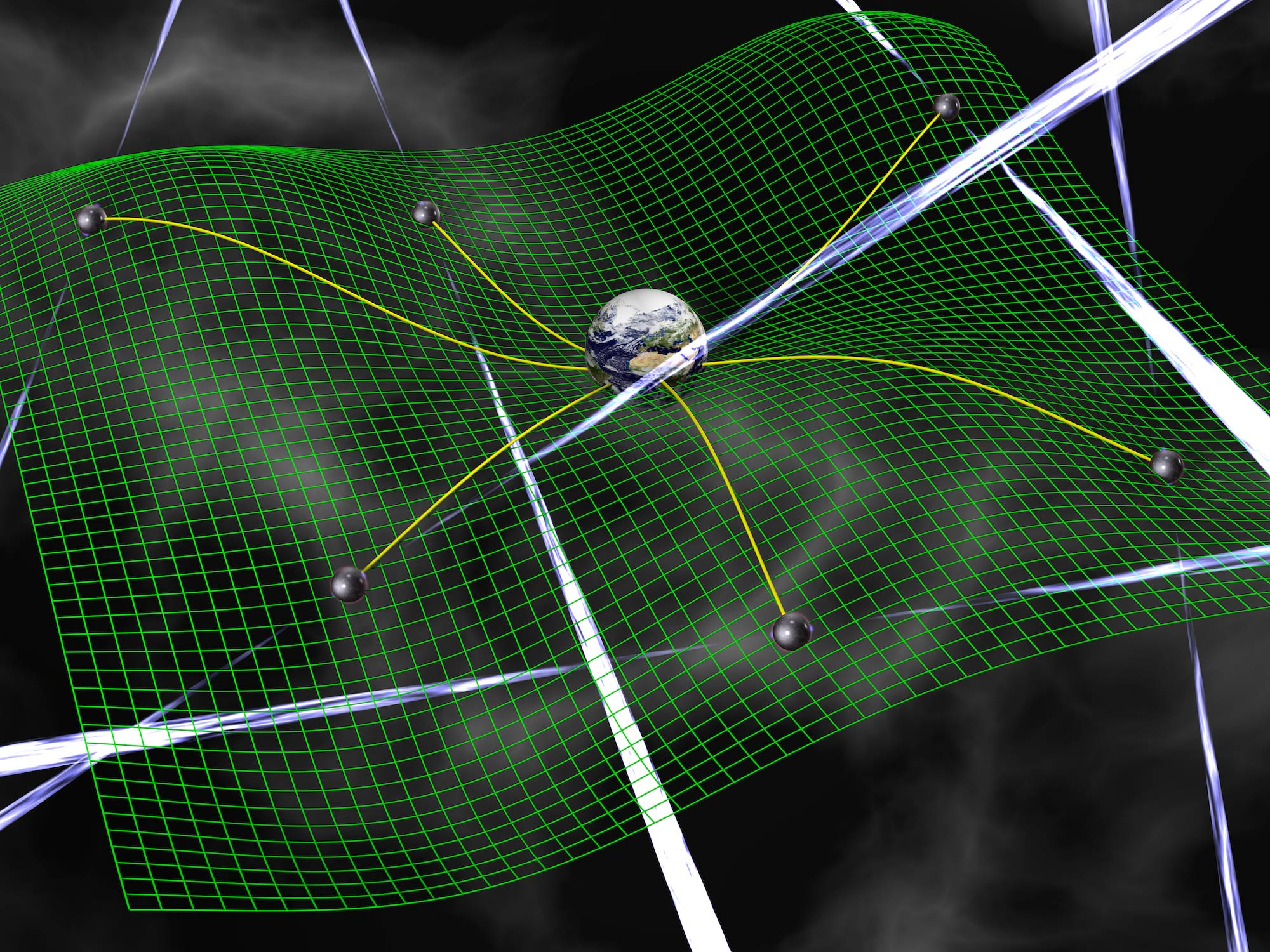 Gravitational waves are ripples in space-time, represented by the green grid, produced by accelerating bodies such as interacting supermassive black holes. These waves affect the time it takes for radio signals from pulsars to arrive at Earth. Photo Credit: David Champion.