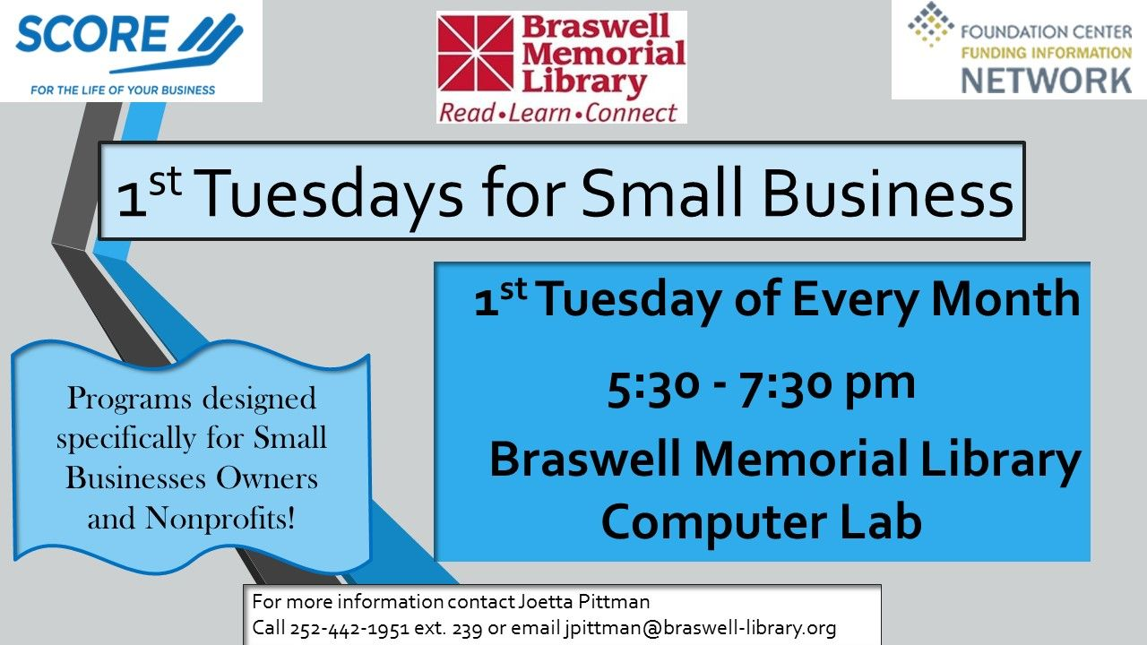 Braswell Memorial Library First Tuesdays for Small Business, Rocky Mount, NC.