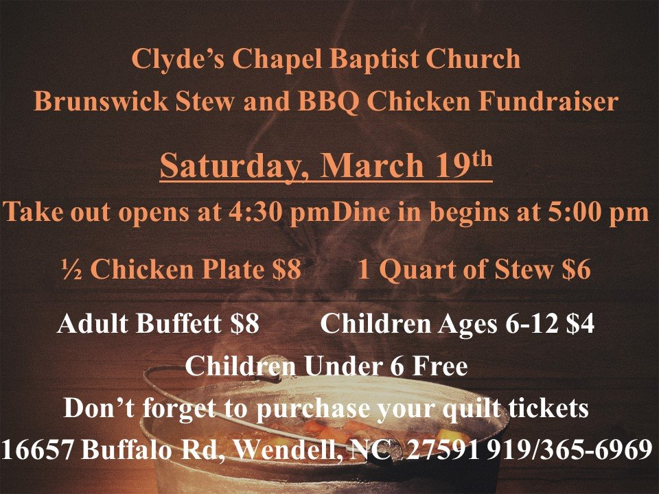 Clydes Chapel Baptist Church 2016 Fundraiser. Source: Clydes Chapel Baptist Church, Wendell NC.
