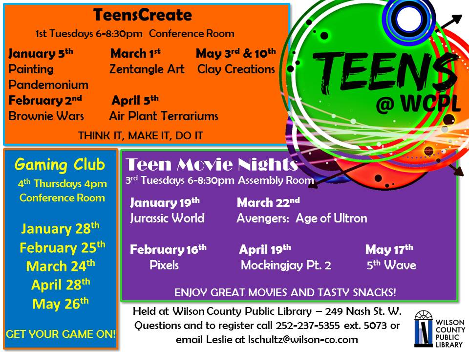 Wilson Library Spring events, Wilson NC.
