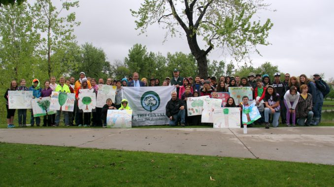 Arbor Day celebration 2015 with students from Peck Elementary School. Source: City of Arvada CO.
