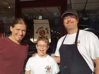 Jason Michael Carroll and the Brown Bag Bagels folks during April 2016 filming at their shop. Source: Brown Bag Bagels, Wendell NC.