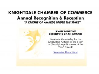 Knightdale Chamber of Commerce Awards Notice. Source: Patrice Bayyan, Knightdale NC.