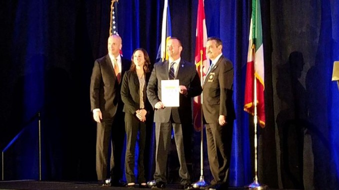 Chief Lawrence Capps and Administrative Division Manager, Erin Carden receiving award. Source: Brian Bowman, Town of Knightdale, NC.