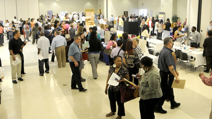 Part of the crowd shown at the 2014 Job Fair. Photo: NCC Public Relations Department, Rocky Mount NC.